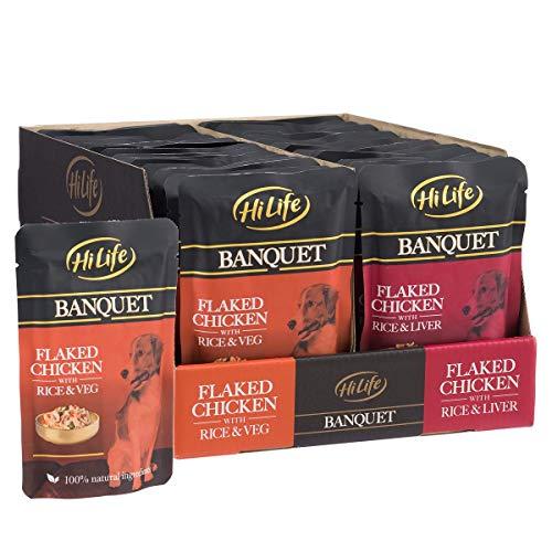 HiLife Comida para Banquete de Perro pechuga de Pollo e hígado/pechuga de Pollo y Vegetal, 30 x 100 g Bolsas