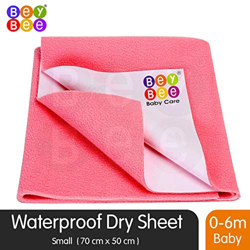 """Bey Bee Washable Bed Pads for Incontinence, Baby Crib Mattress Protector, Baby Dry Sheets, Reusable Waterproof Mattress Sheet Protector Incontinence Washable Underpads (Small 28""""X 20"""") Salmon Rose"""