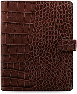 Filofax Classic Croc A5 Size Leather Organizer Agenda Ring Binder Calendar with DiLoro Jot Pad Refills Chestnut 2018 026017
