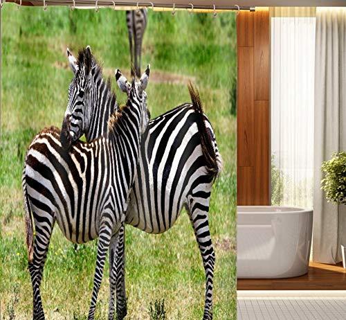 Douchegordijn Prairie Zebra Dierenprint Badgordijn Waterdicht Badgordijn Antischimmel Polyester Badkamer Gordijn 180X200Cm