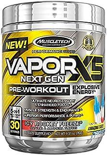 MuscleTech Vapor X5 Next Gen Pre Workout en polvo, Suplemento energético explosivo, ICY Rocket Freeze, 30 porciones (9.6 o...
