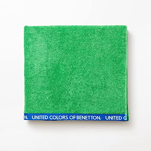 UNITED COLORS OF BENETTON. Toalla de Playa 90 x 160 cm, Rizo de 100% Algodón, Compacta, Ligera, Suave y de Secado Rápido, Apta para Lavadora, Verde ✅