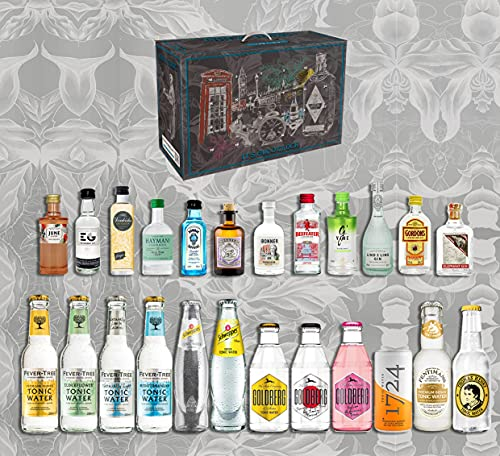 Gin Tonic Adventskalender Tasting Set - 12x Verschiedene Gin Sorten + 12x Verschiedene Tonic Sorten