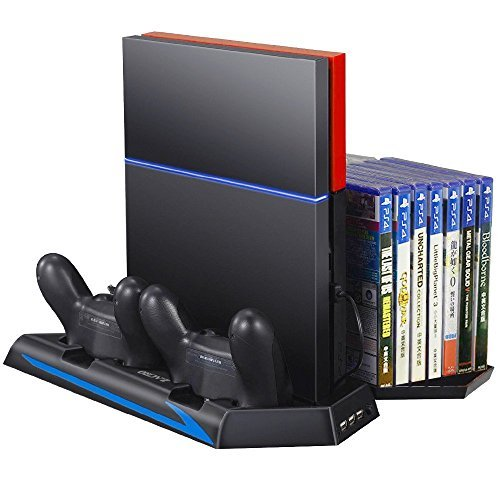 New Version] Zacro PS4 Vertical Stand Cooling Fan Dual Charging Station for Playstation 4 DualShock 4 Controllers, with Dual USB HUB Charger Ports and 14 Disc Storge Manager by Zacro: Amazon.es: Videojuegos