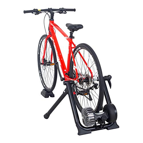 Puluomis Fluid Bike Trainer Stand, Foldable Steel Exercise Bicycle Trainer Stand with Fluid Flywheel for Progressive Resistance, Noise Reduction