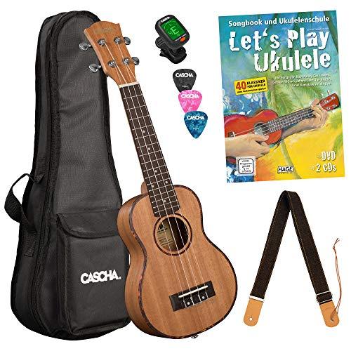 Cascha Premium mahonie sopraan ukelele, kleine Hawaii gitaar, ukelele voor beginners, met acquilasnaren en 3 plectra Let's Play Ukelele beginnersset 21 inch Sopran