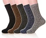MIUBEAR Mens 5 Pair Pack Knitting Warm Wool Casual Winter Socks