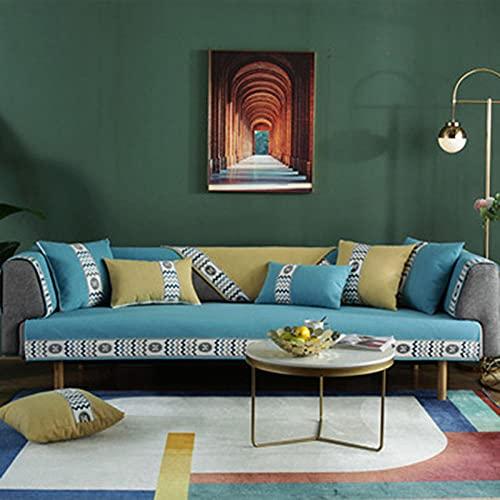 KENEL Sala de Estar Home Funda de Sofa, Chaise Longue Protector De Muebles para Cubierta de Toalla de cojín de sofá de Chenille Broadside para Todas Las temporadas-110 * 180 cm_Azul-Vendido e