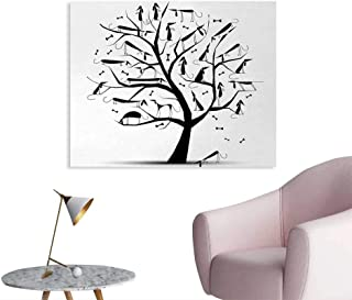 Tudouhoho Abstract Cool Poster Monochrome Autumn Season Tree with Dog Silhouettes on The Branches Dachshund Corridor/Indoor/Living Room Black and White W36 xL24