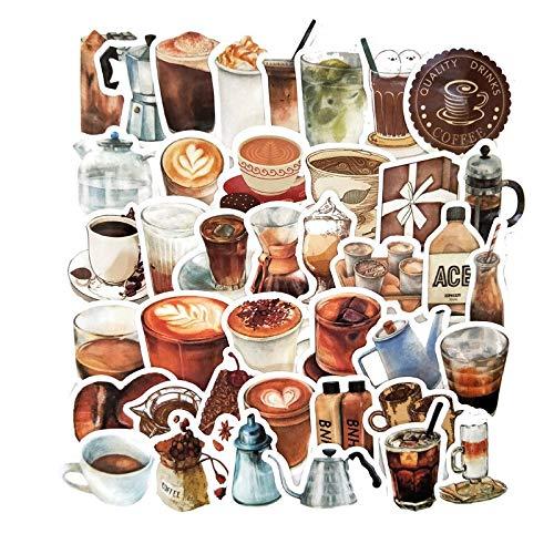 RSZHHL Sticker de Carro 40 unids 2-3 cm Mano factura café Bebida Pegatinas para Maleta monopatín portátil Equipaje Nevera teléfono DIY calcomanía Etiqueta