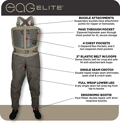 Paramount Outdoors EAG Elite 4 Breathable Stockingfoot Chest Fishing Wader (Large)