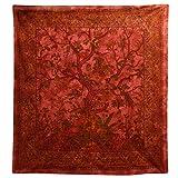 Tagesdecke Lebensbaum rot Bunte Vögel Blumen indische Decke Baumwolle Tie Dye Style