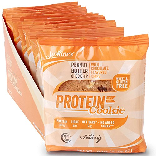 Justine's low carb Erdnussbutter-Cookie mit Schokoladenstückchen   Kohlenhydratarm 22,6g pro 64g (Portionsgröße)   Proteinreich   Ohne Zuckerzusatz   Glutenfrei   Ohne Weizen   6 x 64g  