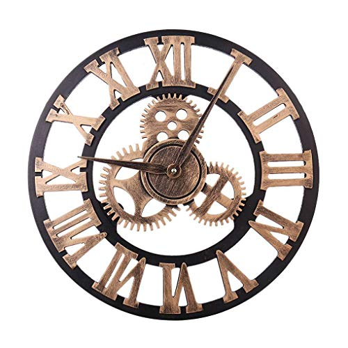 40cm 3D Gear Design Roman Numeral Wall Clock Living Room Hotel Decoration Non-ticking Wooden Large Clock