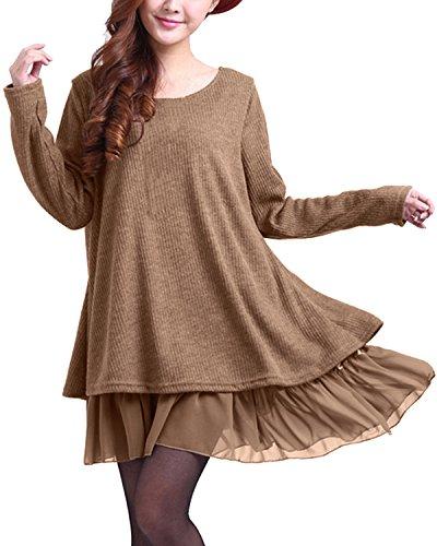 ZANZEA Pullover Damen Langarm Stricken Strickkleid Pulloverkleid Rundhals Longpullover Stricken Kleid Kurz Lässig Khaki-F399848 EU 44