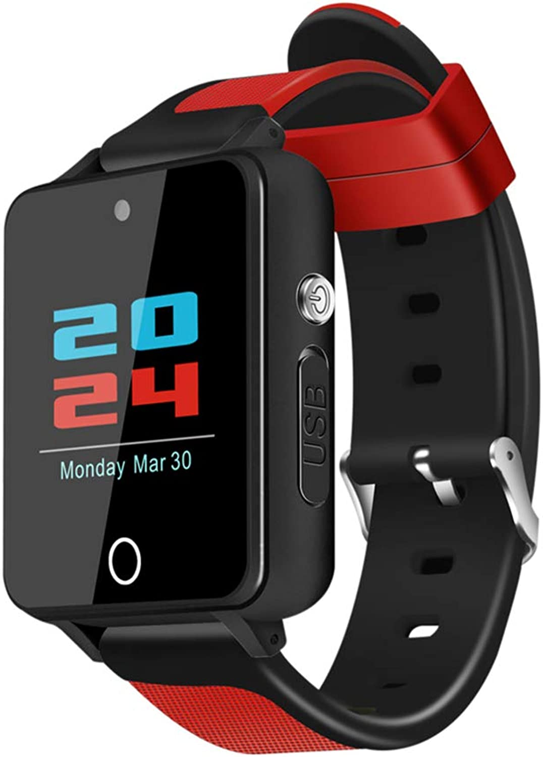 HUIGE Smartwatch, Fitness-Herzfrequenz Blautooth 4,1 Für iPhone IOS Und Android Phone,rot