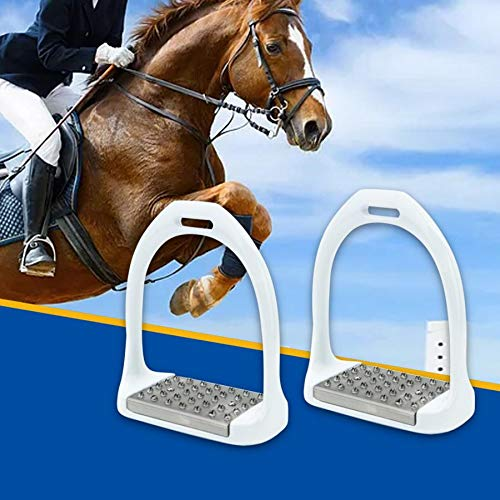 GCSEY 1Pair Anti Slip Horse Safety Stirrup Aluminium Paard Zadel Engels Stijgbeugels Paard Rijden Paardensport Veiligheidsbeugels Apparatuur, Wit