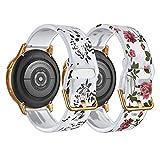 TiMOVO 2PCS Cinturino Compatibile con Samsung Galaxy Watch Active 2/Active/Galaxy Watch 4/Watch 3 41mm R840/Watch 42mm, Cinturino da Polso, Braccialetto in Silicone, Loto Nero/Rosa Rosa