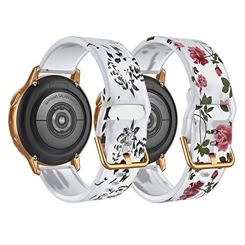 TiMOVO 2PCS Pulseras de Repuesto del Reloj Compatible con Samsung Galaxy Watch Active 2/Active/Galaxy Watch 3 41mm/Watch 42mm, Correa Traslúcida de Silicona con Estampado Floral, Loto Negro/Rosa Rosa