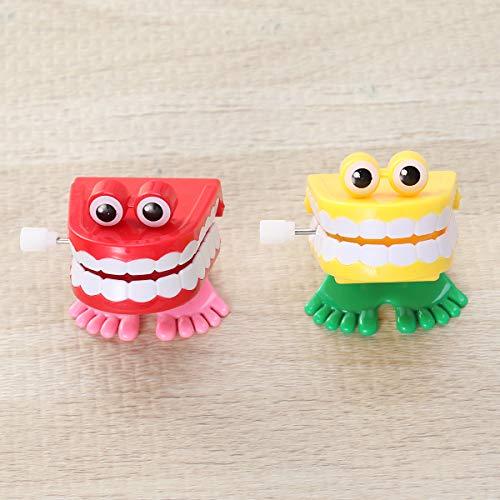 TOYANDONA Aufziehspielzeug Uhrwerk Spielzeug Zähne Mund Form Wind Up Spielzeug für Kinder Party Gastgeschenk 2 Stück (Zufällige Farbe)