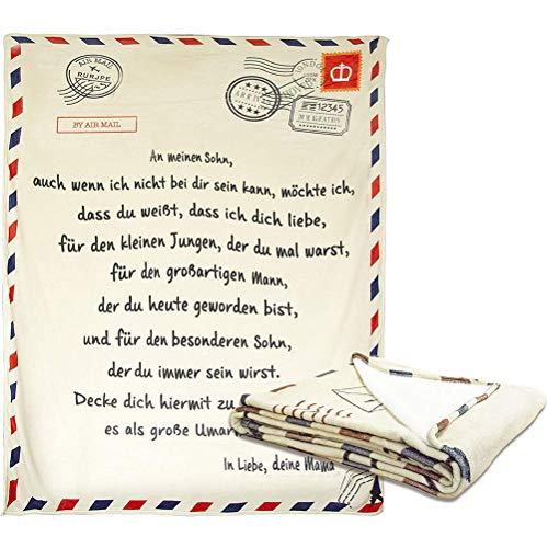 Fyeep Manta de franela con letras alemanas «EIN Mein Sohn und Mein Hija», muy suave, cálida para el invierno, suave, para el dormitorio, el salón, el hogar, la carta, manta para el sofá