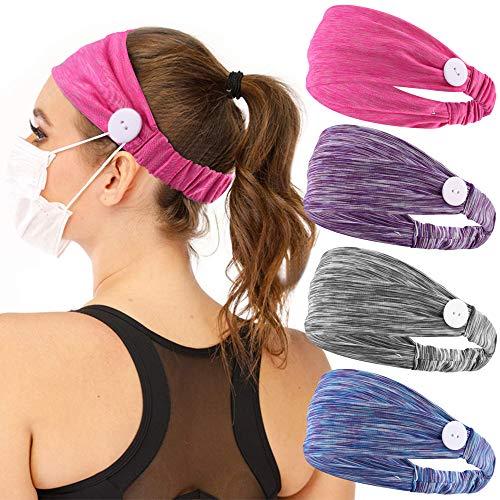 Confezione da 4 fasce per capelli da donna per infermieri, simpatiche fasce per sudore alla moda, per yoga e allenamento, 178E
