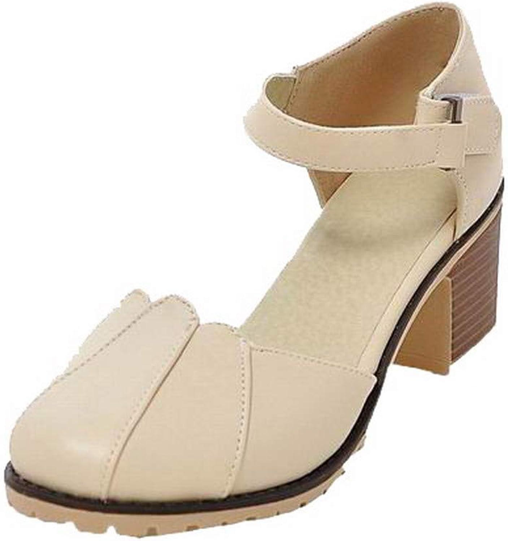 AmoonyFashion Women's Pu Hook-and-Loop Round-Toe Kitten-Heels Solid Sandals, BUTLT007808