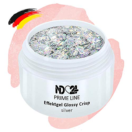 Prime Line - Uv Led Gel Crisp Effekt Silver Glitzer Silber - Made in Germany - 5ml