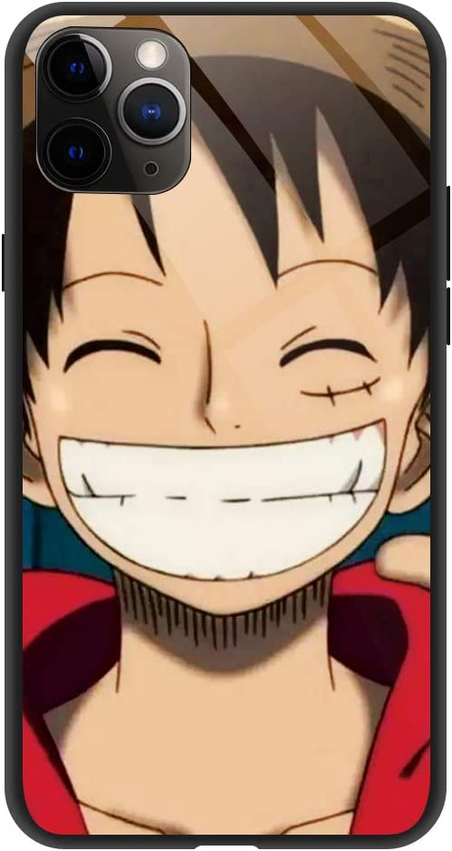 Phone Case Compatible with iPhone 11 Pro, Anime One Piece Luffy Pattern Tempered Glass Back Cover Soft Silicone Anti Scratch Bumper Design Phone Cases 5.8 inch