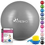 TRESKO® Pelota de Gimnasia Anti-Reventones | Bola de Yoga Pilates y Ejercicio | Balón para Sentarse | Balon de Ejercicio para Fitness | 300 kg | con Bomba de Aire | Gris | 75cm