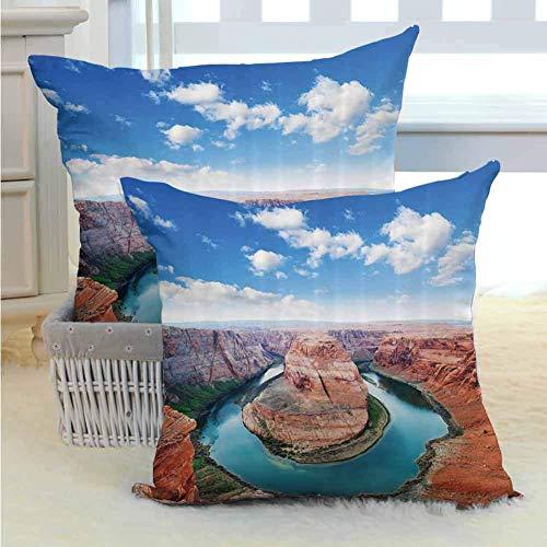 Colección de decoración de habitaciones Funda de almohada de poliéster Curva de herradura Borde norte Página del Gran Cañón Arizona EE. UU. Atracciones turísticas famosas con cremallera oculta Marrón