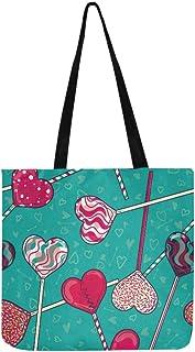 Colorful Love Heart Shaped Lollipop Candy Canvas Tote Handbag Shoulder Bag Crossbody Bags Purses For Men And Women Shoppin...