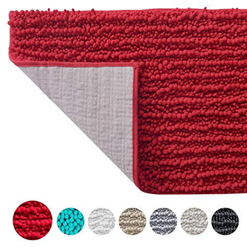 SOFTOWN Luxury Chenille Bathroom Rugs - Super Soft Plush Striped and Absorbent Microfiber Bath Mat for Bathroom, Machine Washable Non-Skip Bath Carpet