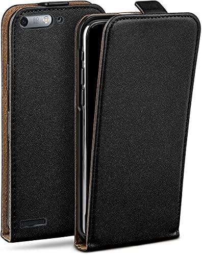 moex Flip Hülle für Huawei Ascend G6 - Hülle klappbar, 360 Grad Klapphülle aus Vegan Leder, Handytasche mit vertikaler Klappe, magnetisch - Schwarz