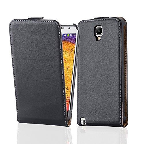 Cadorabo Hülle für Samsung Galaxy Note 3 NEO - Hülle in KAVIAR SCHWARZ – Handyhülle aus glattem Kunstleder im Flip Design - Hülle Cover Schutzhülle Etui Tasche