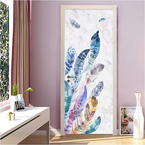 ZPCR Self Adhesive 3D Door Sticker Home Decor Colored Feather Waterproof Print PVC Poster Wall Artwork Picture Suit for Children Room