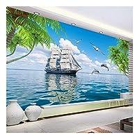 壁画壁紙壁防水キャンバス塗装ココナッツツリー帆船シービューリビングルーム壁装飾