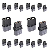 Amass XT60H Bullet Connector Plug Upgrated of XT60 Plug Sheath Female & Male Black Plated for RC Parts Lipo Battery(10 Pairs) …