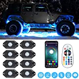 SUNPIE RGB LED Rock Lights -8 Pod Lights with Phone App/Remote Control & Timing & Music Mode & Flashing & Automatic Control & Color Multicolor Underglow Neon Lights for Jeep Off Road Truck SUV ATV