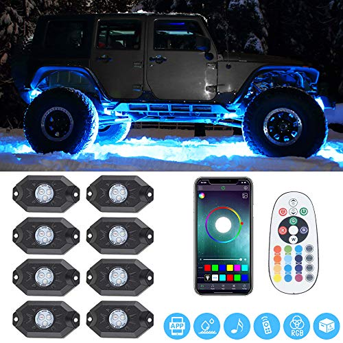 RGB LED Rock Lights -8 Pod Lights with Phone App/Remote Control & Timing & Music Mode & Flashing & Automatic Control & Color Grad Multicolor Underglow Neon Lights for Jeep Off Road Truck SUV ATV