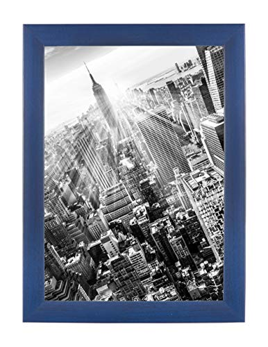 FRAMO 35 Puzzlerahmen 50 x 70 cm, Farbe: Dunkelblau gewischt, handgefertigter Puzzle Bilderrahmen mit bruchfester Anti-Reflex Kunstglasscheibe, Rahmen Breite: 35mm, Außenmaß: 55,8x75,8cm