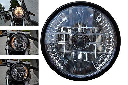 Schwarz Universell Frontscheinwerfer Motorrad mit Eingebauten Led Blinker D 7 Zoll 12V 35W