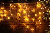 200er LED 5m Eisregen Lichterkette Lichtervorhang Eiszapfen Außen Innen Deko für Garten Party Hochzeit Strombetrieben mit Stecker Gresonic (Warmweiß, Fernbedienung+Timer+6 MODI)