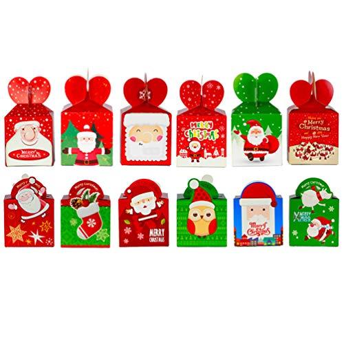 Kisangel 48 peças caixas de Natal 3D para caixas de papel Goodie de Natal para festas escolares em sala de aula, lembrancinhas de festa, doces, caixas de biscoito, estilo aleatório