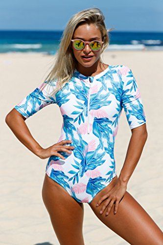 Aleumdr Womens Zip Front Printed Half Sleeve One Piece Swimsuit Rash Guard Swimwear Color Blocked Plus Size 2XL Size Blue