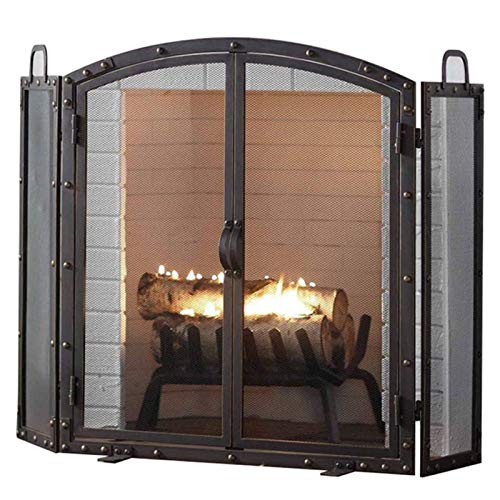FUFU Mesh Fireplace Screen Heavy Duty Steel 3 Panel Fire Screen Spark Guard Safety Barrier | Fireplace Screen | Fireplace Fence | Hearth Gate | Baby Safety Proof Guard | Pet Dog Cat Christmas Tree Fen
