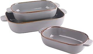 Kvv Rectangular Bakeware Set of 3 Piece,Lasagna Pans,Ceramic Baking Pan,Baking Dishes for Cooking, Kitchen, Cake Dinner, B...