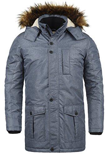 !Solid Octavus Herren Winter Jacke Parka Mantel Lange Winterjacke gefüttert mit Kunst-Fellkapuze, Größe:XL, Farbe:Insignia Blue Melange (8991)