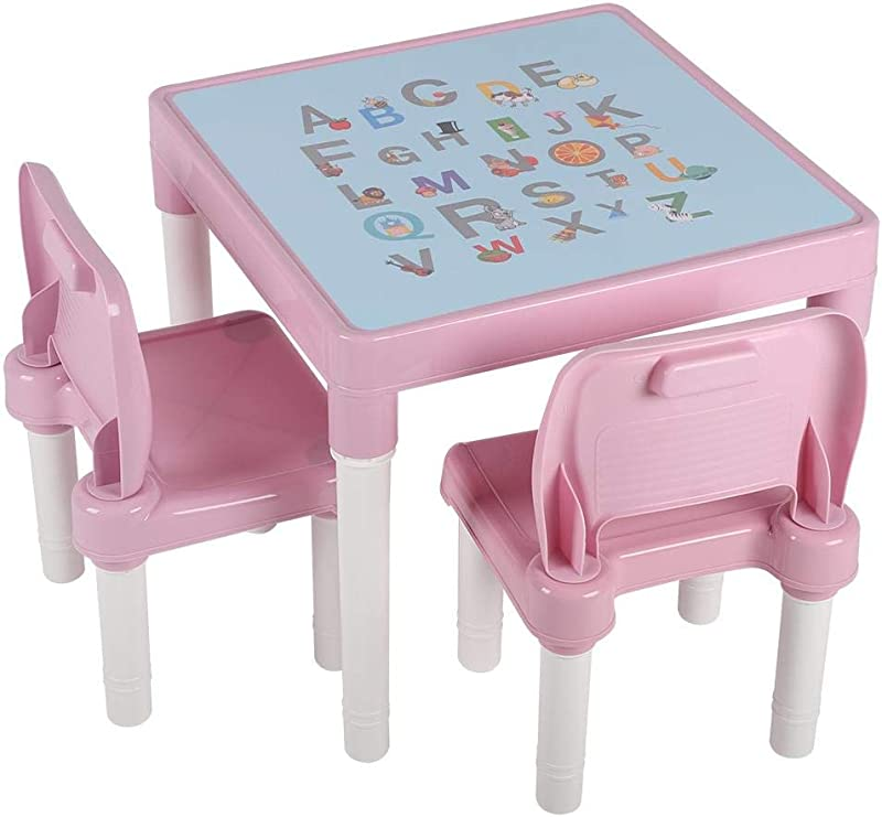 POCREATION Kid Table Set Plastic Table And 2 Chairs Set Activity Table Chair Set Kids Furniture Set Children S Table And Chair Set Portable Lightweight Activity Learning Table Pink Blue