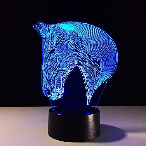 Pferd 3D USB Lampe Kind 7 Farben Wechselnde Nachtlicht Acryl Fernbedienung Touch Switch Toilette Schreibtischlampe USB Energiesparende Schreibtischlampen